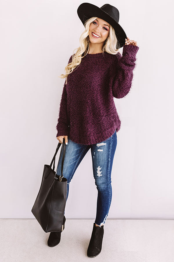 Anticipating Autumn Shift Sweater In Windsor Wine