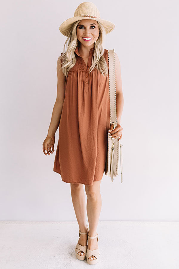 Merlot And Magic Shift Dress in Light Rust