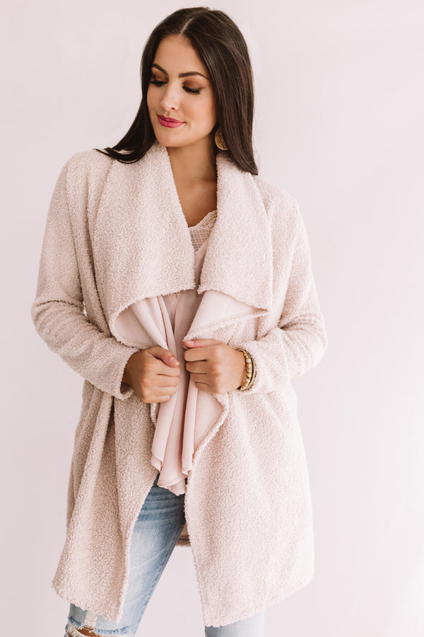 As Long As You Love Me Sherpa Cardigan In Light Blush