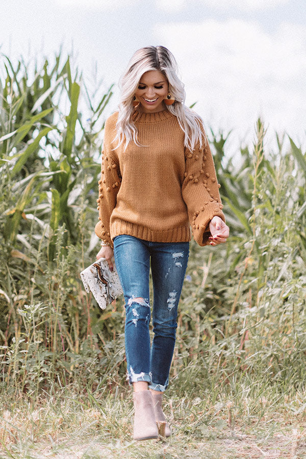 Fall For It Pom Pom Sweater in Copper