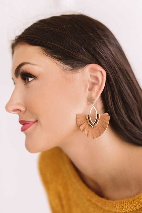 Charm Life Faux Leather Fan Earrings in Brown