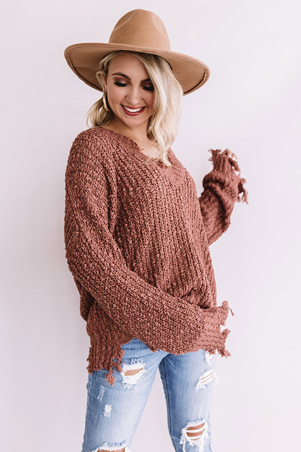 Catching Fall Feels Knit Sweater In Rustic Rose