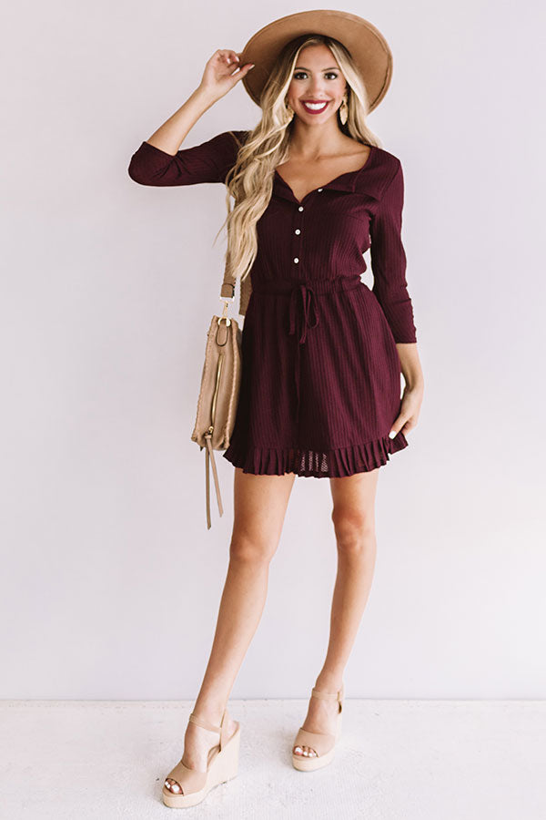 Autumn's Kiss Waffle Knit Dress in Windsor Wine