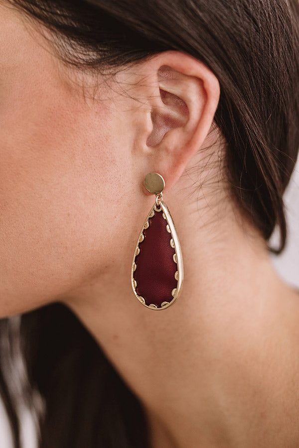 Chardonnay And Chic Faux Leather Earrings in Merlot