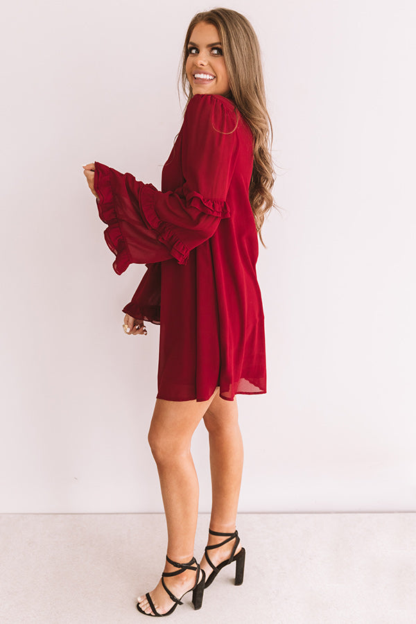Nights At The Vineyard Shift Dress In Merlot