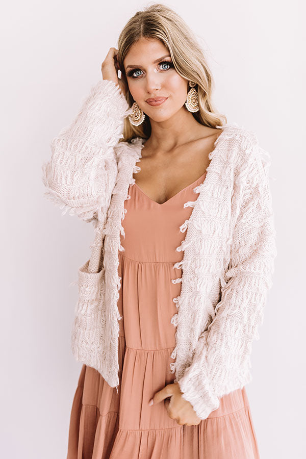 Leave Knit To Me Cardigan In Light Blush