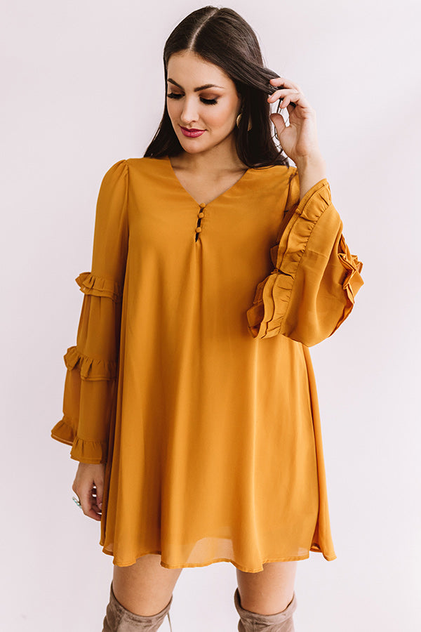 Nights At The Vineyard Shift Dress In Dark Mustard