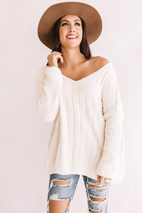 Wrapped In Joy Chenille Sweater In Ivory