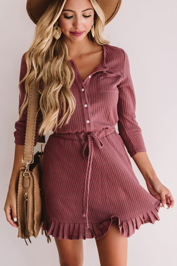 Autumn's Kiss Waffle Knit Dress in Vineyard Grape
