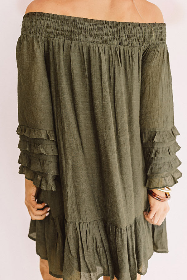 Sweet Sippin' Shift Dress In Army Green