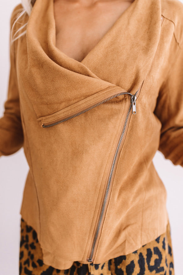 Chills In Chicago Faux Suede Jacket In Camel • Impressions