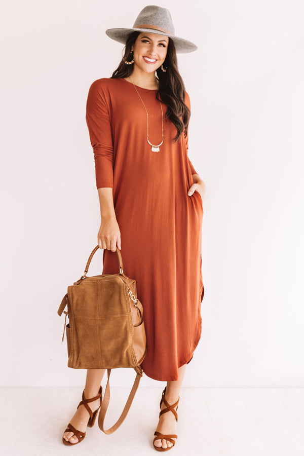 Fall Fashion Forward T-shirt Midi in Rust