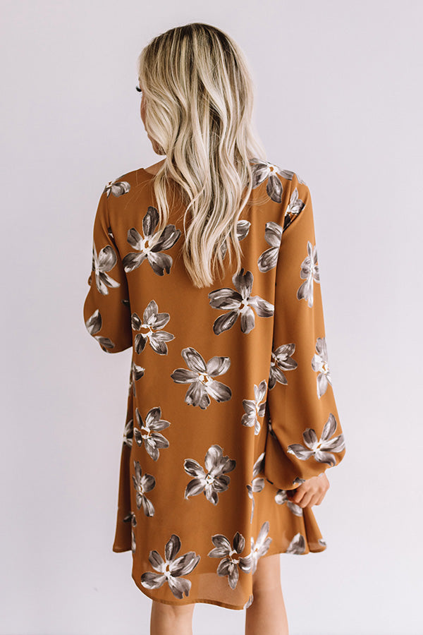 Chiffon On My Mind Floral Tunic Dress in Chocolate
