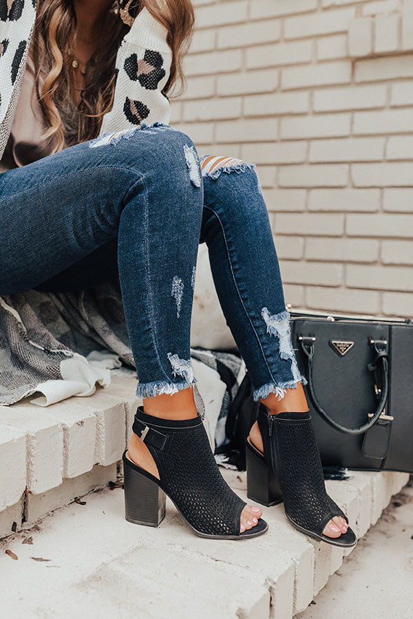 The Jillian Peep Toe Bootie In Black