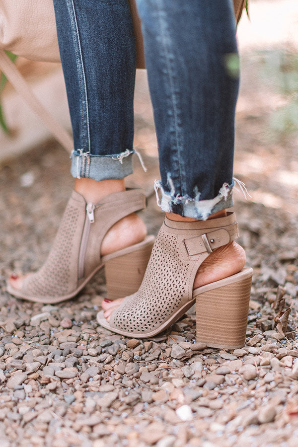 The Jillian Peep Toe Bootie In Taupe