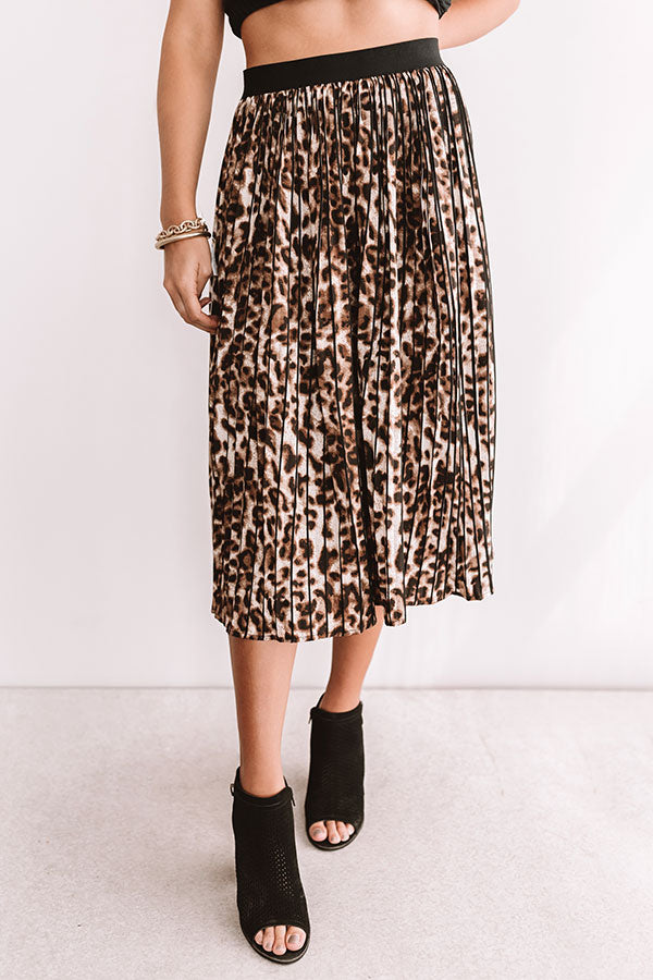 Trendy In The City Pleated Leopard Skirt