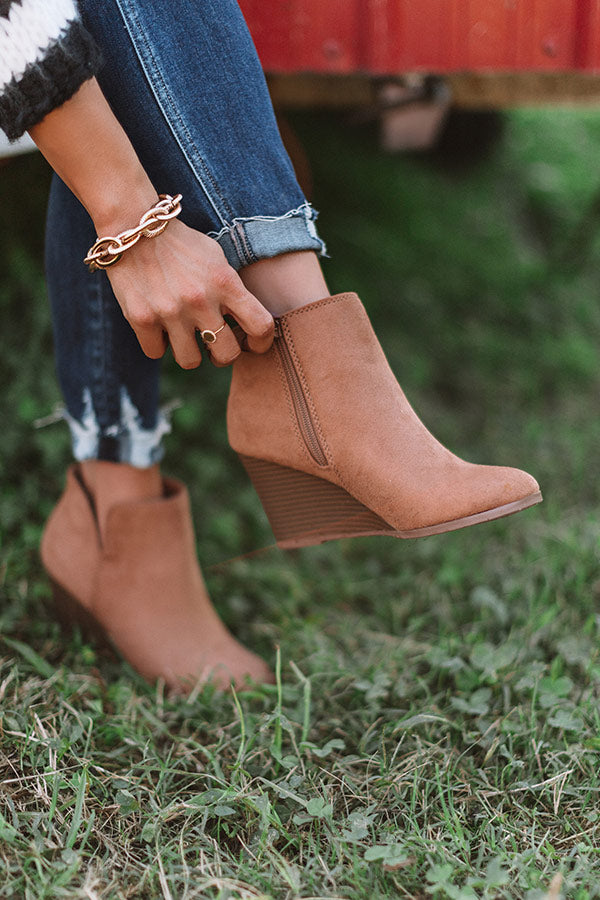 The Macon Faux Suede Bootie In Iced Mocha