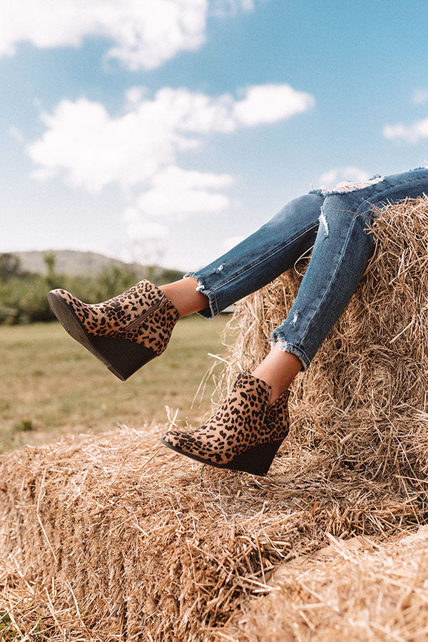 The Macon Faux Suede Bootie In Leopard