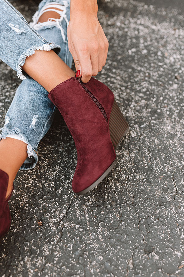 The Macon Faux Suede Bootie In Windsor Wine
