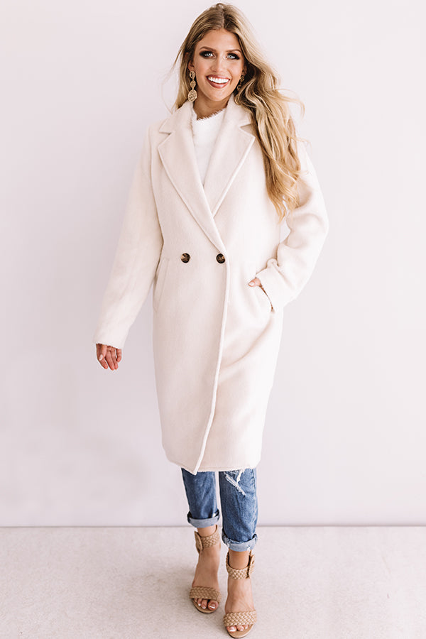 Fall Fashion Forward Coat In Ivory