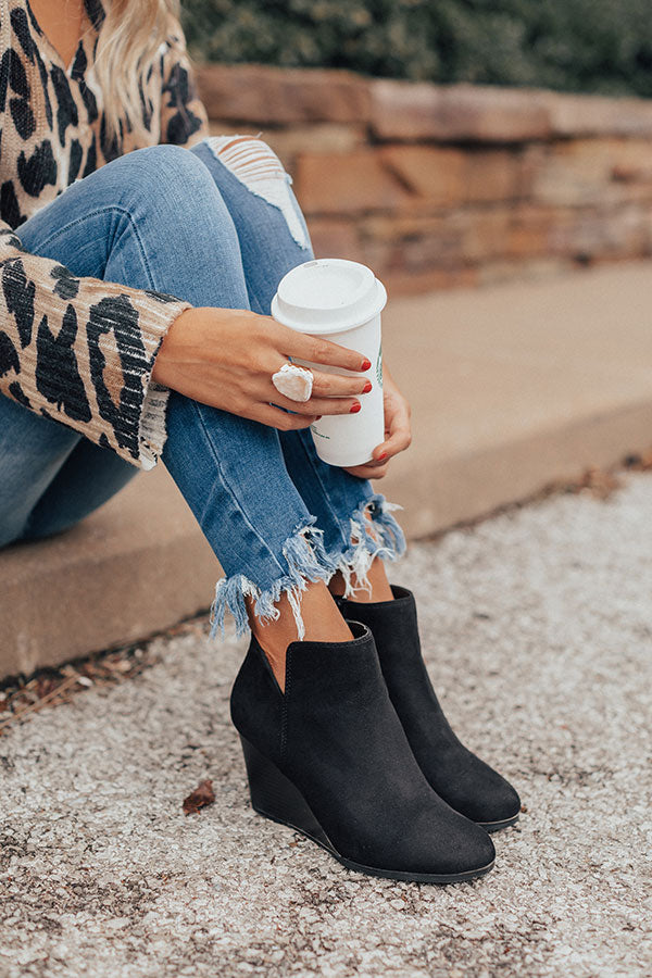 The Macon Faux Suede Bootie In Black