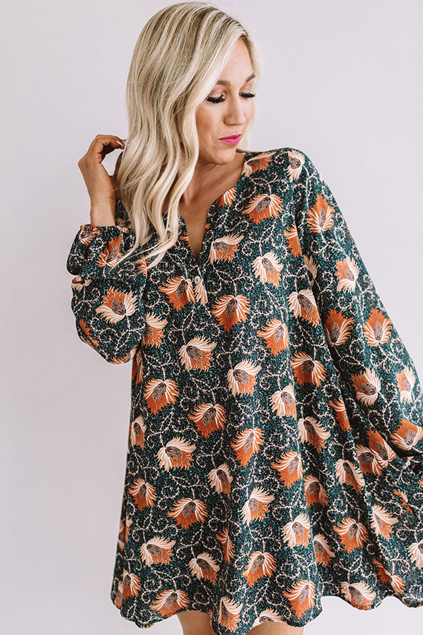 Chiffon On My Mind Floral Tunic Dress in Teal