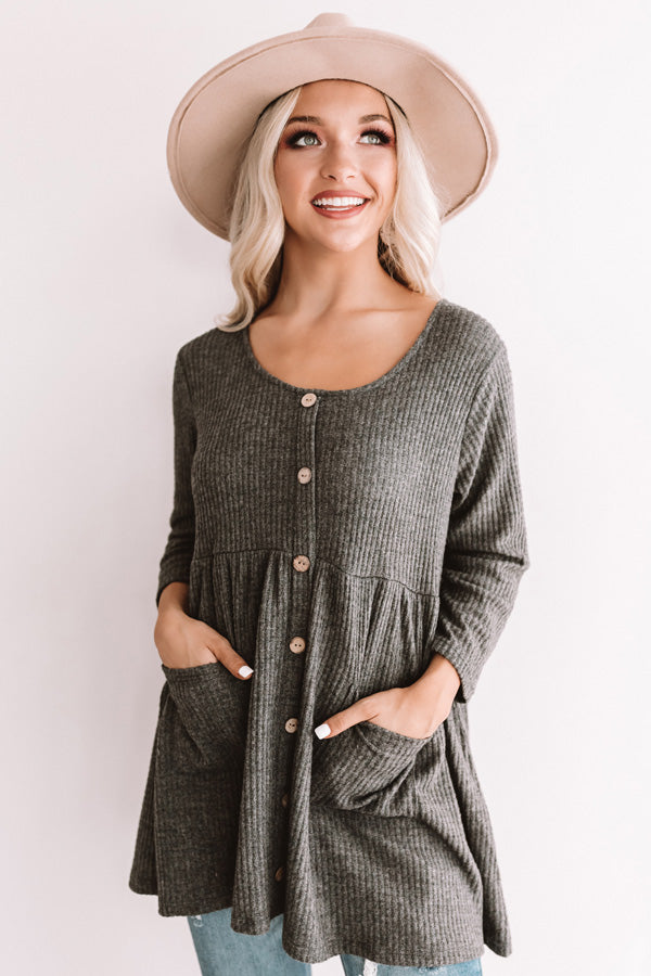 Bring On The Lattes Babydoll Tunic Dress In Dark Grey