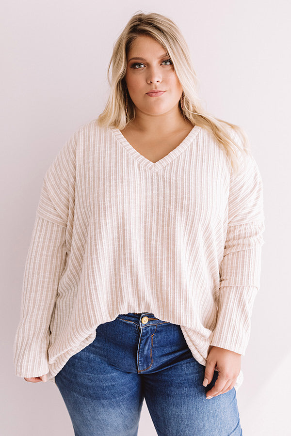 True Wanderlust Ribbed Shift Top In Ivory