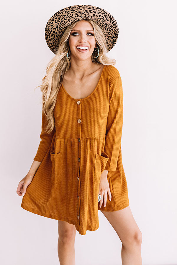 Bring On The Lattes Babydoll Tunic Dress In Pumpkin