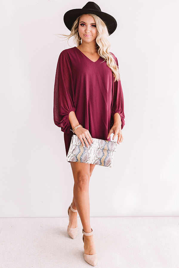 Date Night Out Shift Dress In Wine