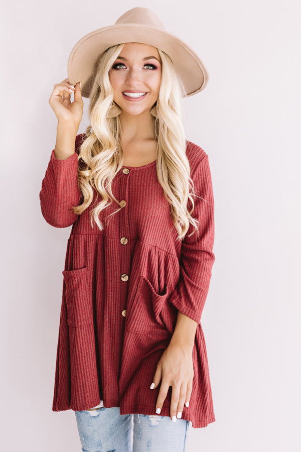 Bring On The Lattes Babydoll Tunic Dress In Wine