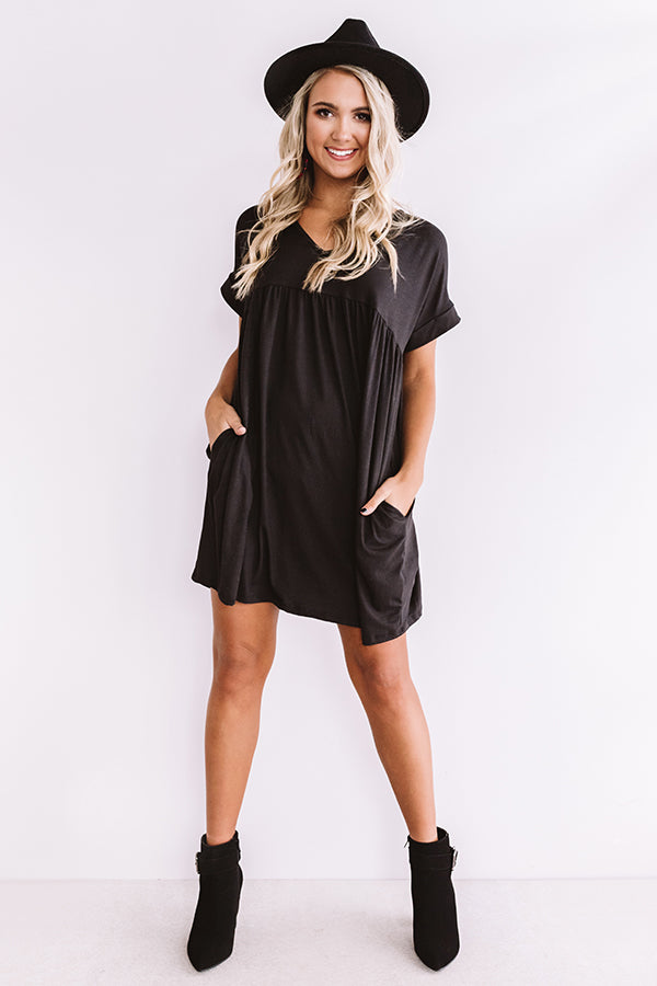 Holding Hands Babydoll Dress In Black