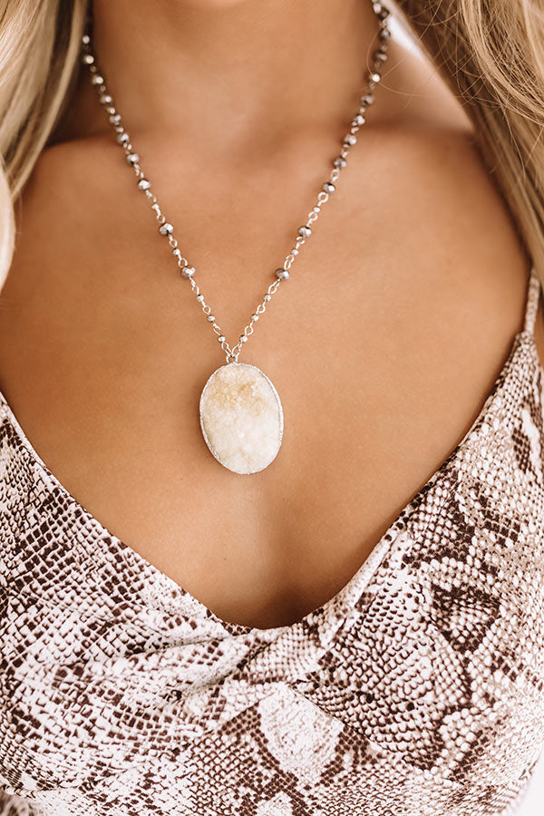 The Bold And The Fashionable Druzy Necklace In Grey