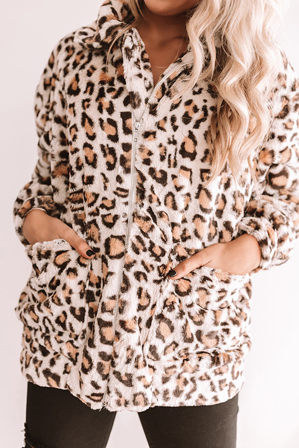 Leopard Lush Plush Coat In Brown