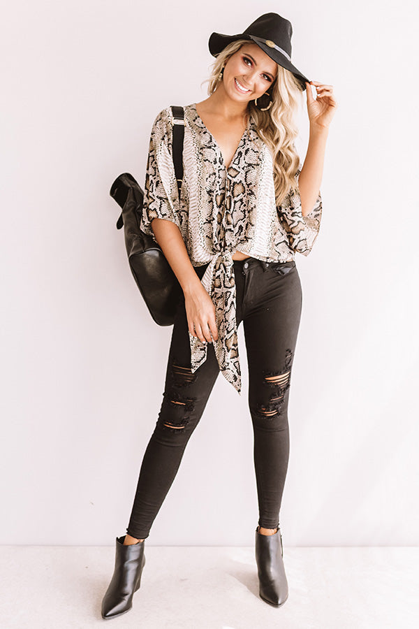 Gorgeous Grand Entrance Snake Print Tie Top