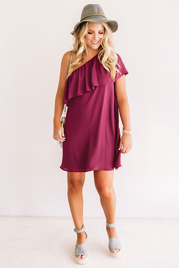 Spotted In The Stadium Shift Dress in Maroon