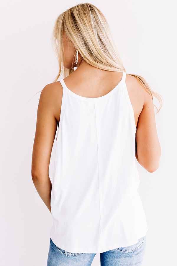 Party Perfection Ribbed Henley Tank In White