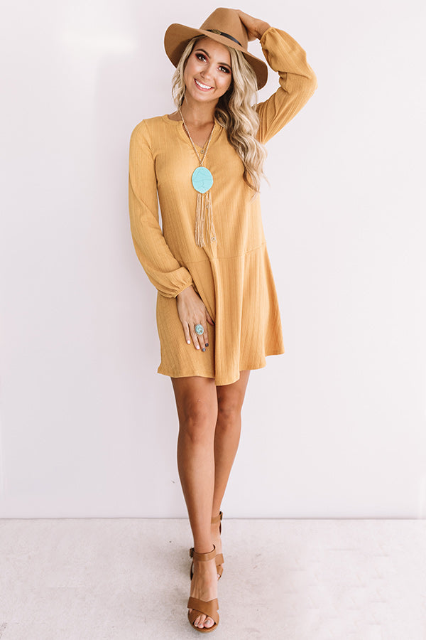 Pumpkin Spice And All Things Nice Shift Dress In Golden Honey