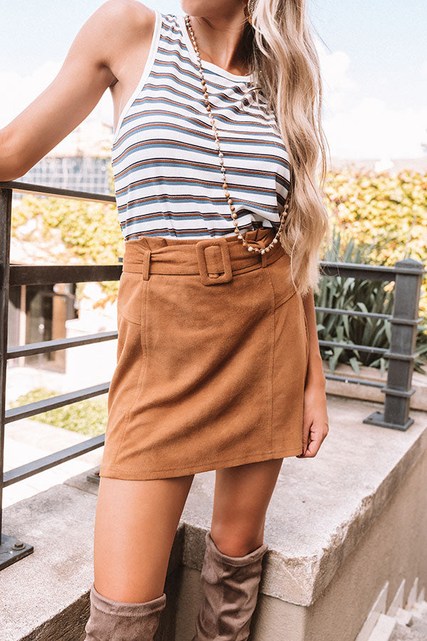 The Essie Faux Suede Skirt In Camel