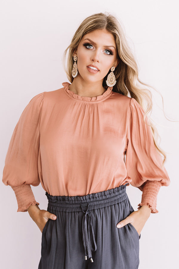 Better In Brooklyn Satin Shift Top In Rustic Rose