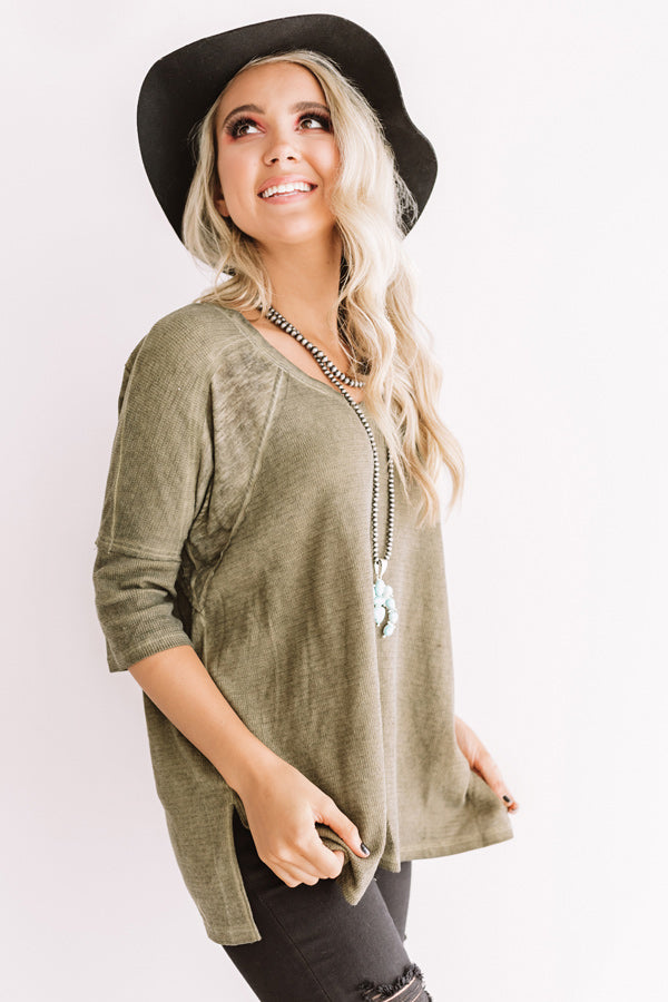 Simply Glowing Shift Top In Martini Olive