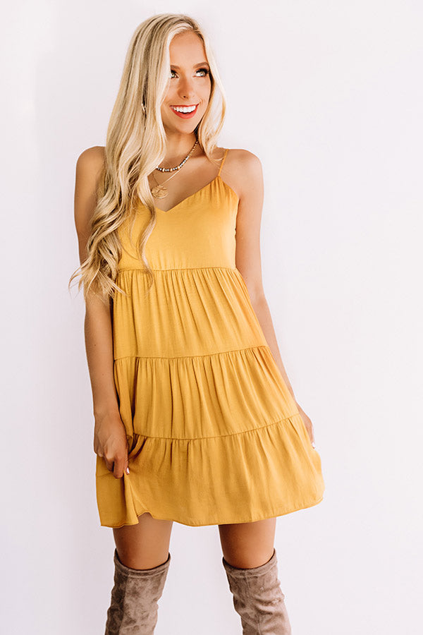Weekend In The Hamptons Babydoll Dress in Mustard