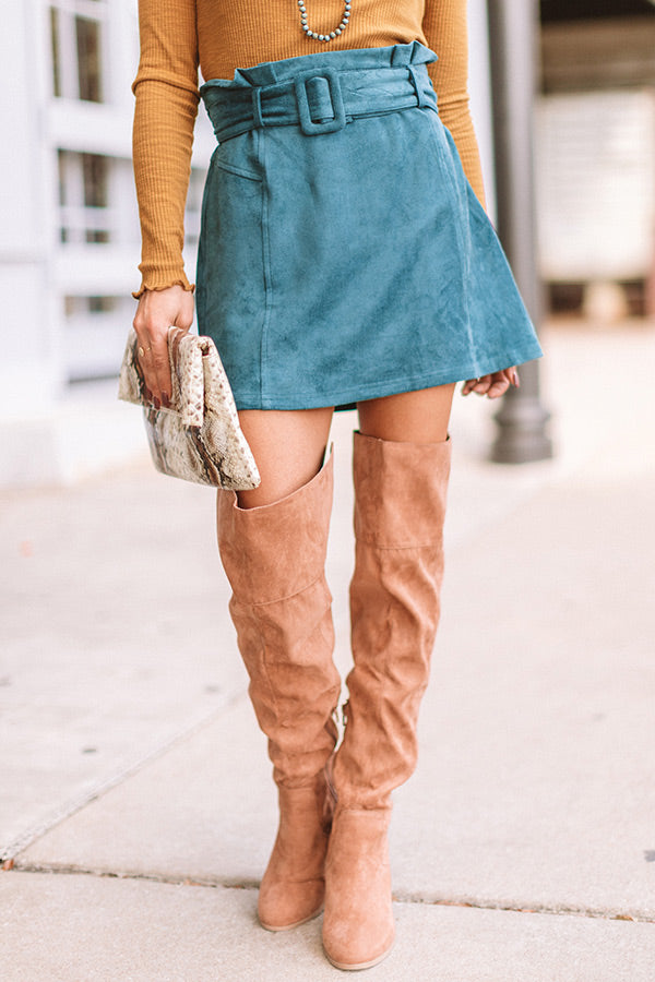 The Essie Faux Suede Skirt In Teal