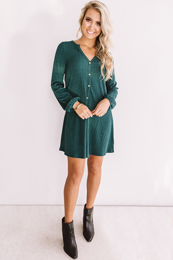 Pumpkin Spice And All Things Nice Shift Dress In Hunter Green