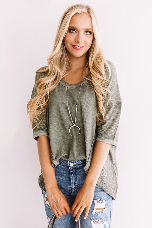 Cool And Collected Shift Top In Olive