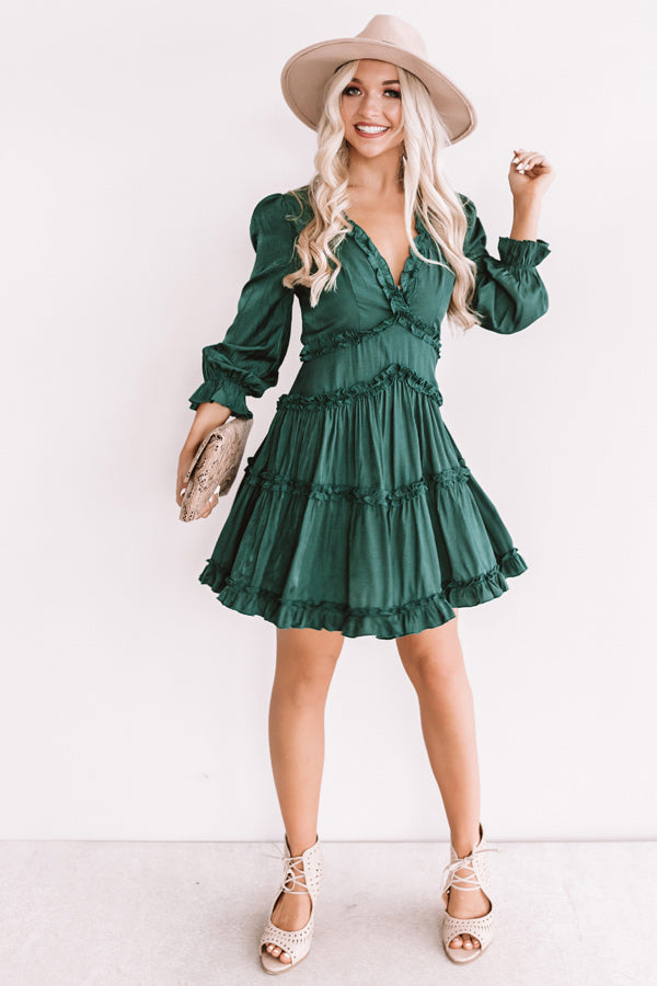 Sweet And Stunning Babydoll Dress In Hunter Green