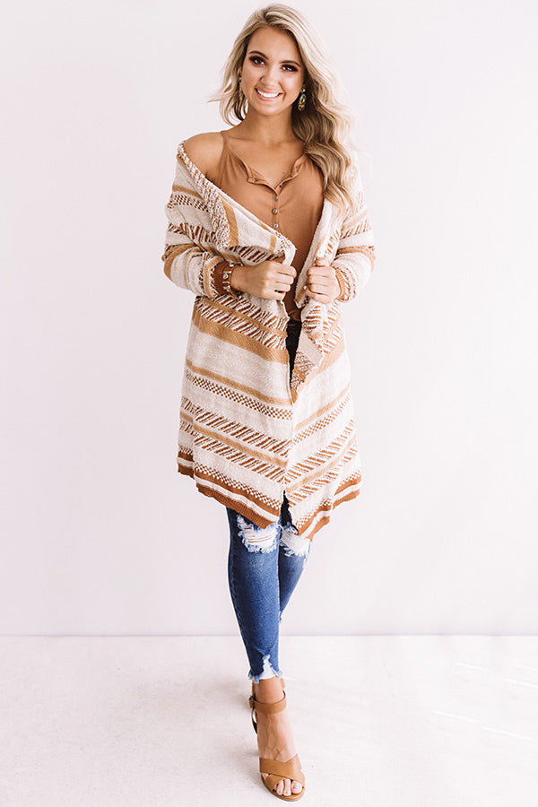 Hello Fall Knit Stripe Cardigan in Warm Taupe