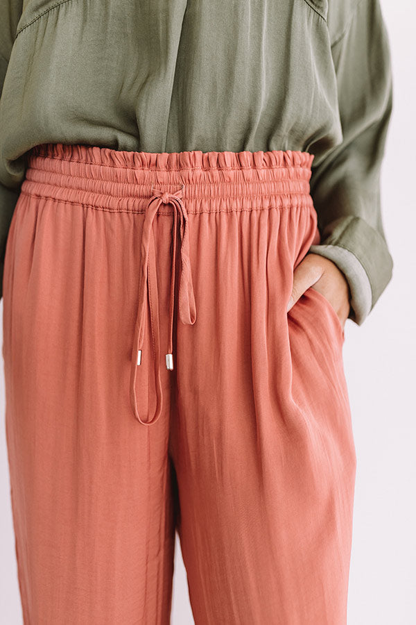 The Bold And The Fashionable Satin Pants In Coral