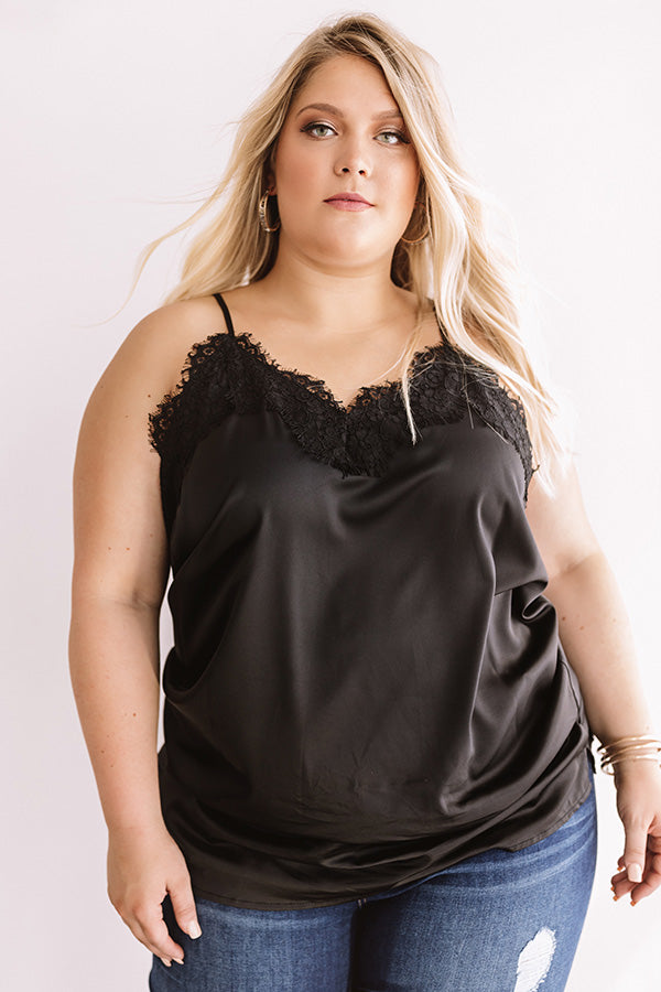 Center Stage Spotlight Lace Tank In Black