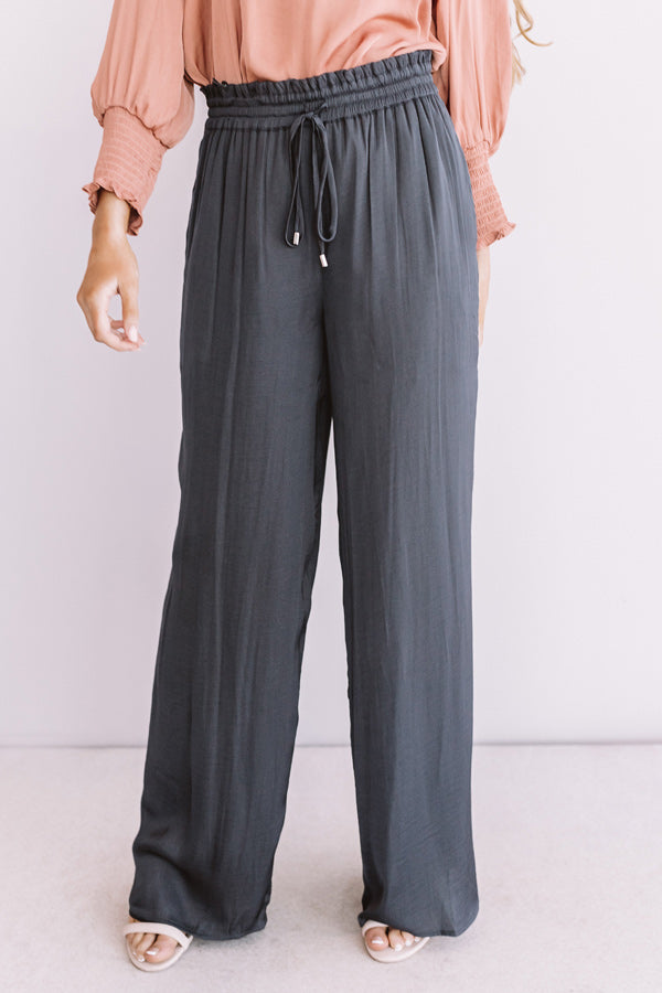 The Bold And The Fashionable Satin Pants In Charcoal